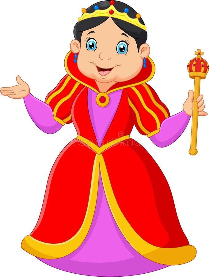 Kreskówki królowej mienia berło ilustracja wektor