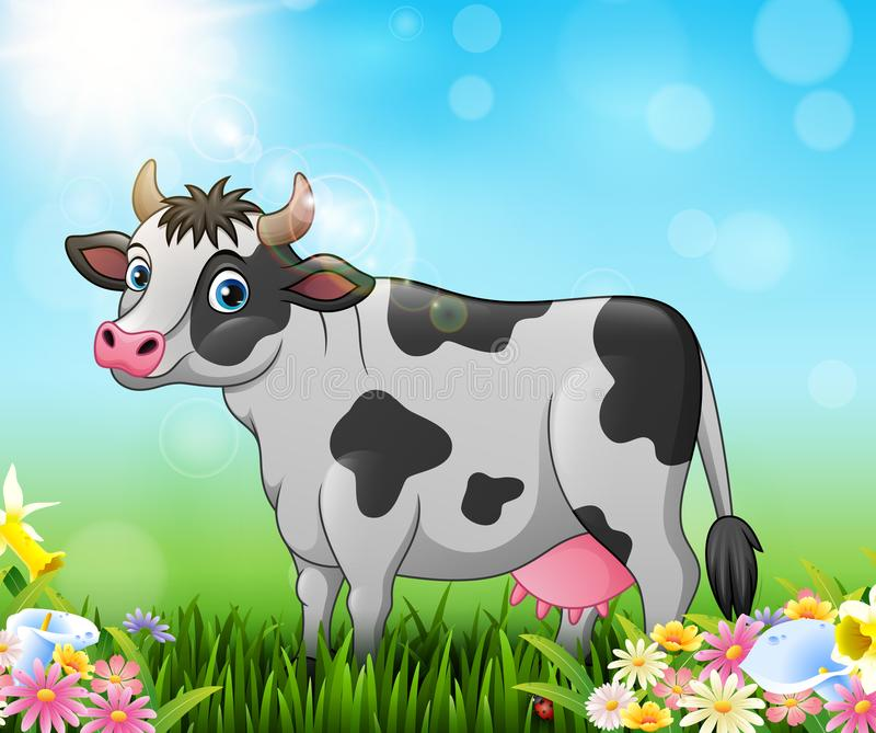 Kreskówki krowa z natury tłem ilustracja wektor