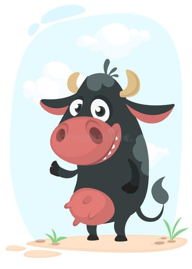 Kreskówki krowy śliczna ładna pozycja i ono uśmiecha się również zwrócić corel ilustracji wektora ilustracja wektor