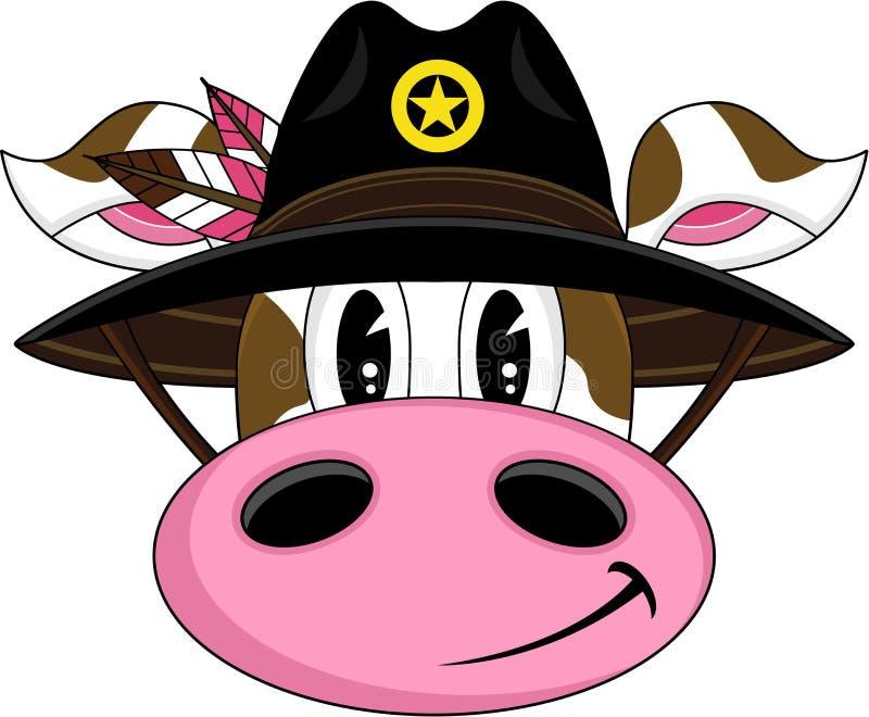 Kreskówki krowy Dziki Zachodni kowboj royalty ilustracja