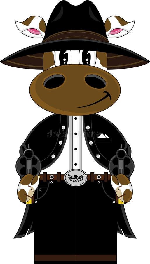 Kreskówki krowy Dziki Zachodni kowboj ilustracja wektor