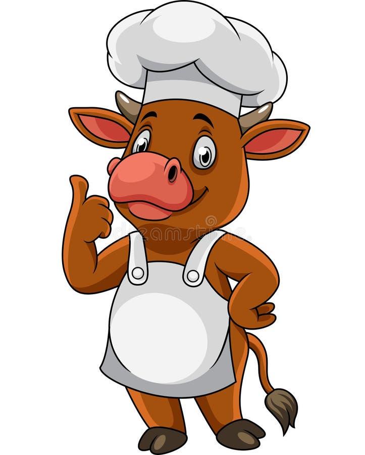 Kreskówki krowy szczęśliwy szef kuchni daje aprobatom ilustracja wektor