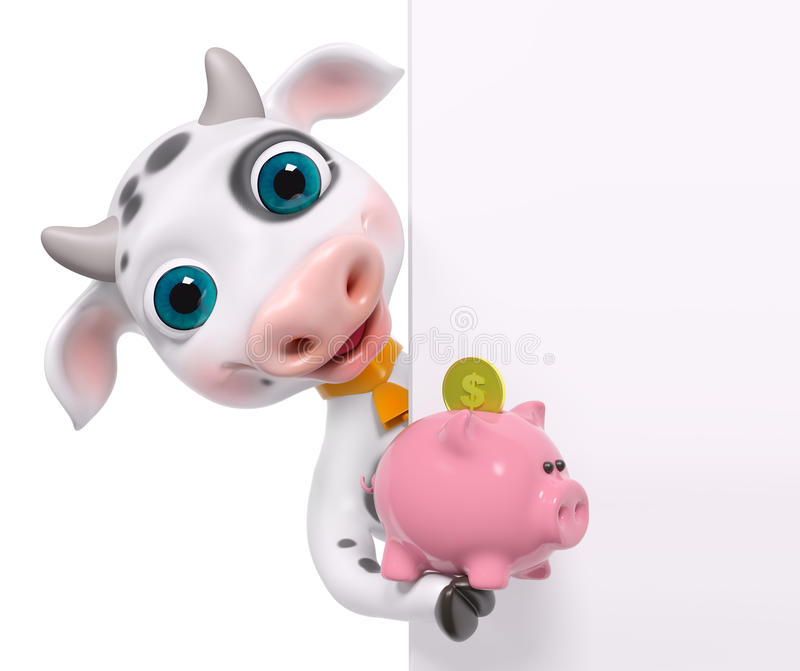 Kreskówki krowy zerknięcie z plakatem, trzyma prosiątko banka 3d rendering ilustracja wektor