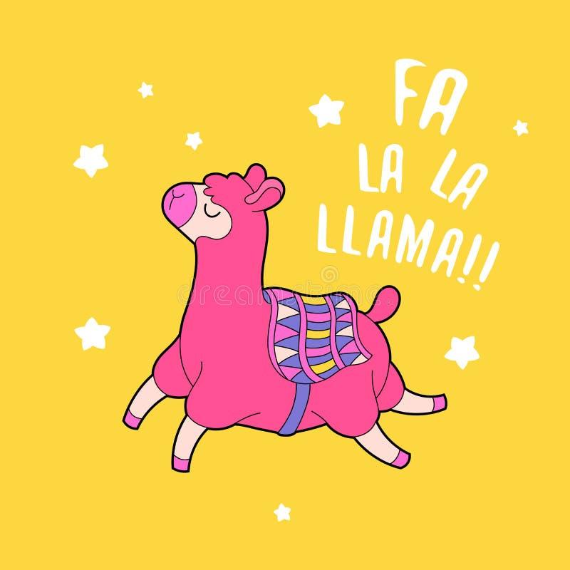 Kreskówki lama charakteru wektoru ilustracja Śmieszna zwierzęca druk karta ilustracji