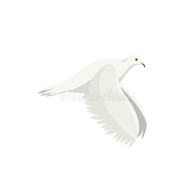 Kreskówki latania gołąbki Biały ptak Z ukosa wektor ilustracji