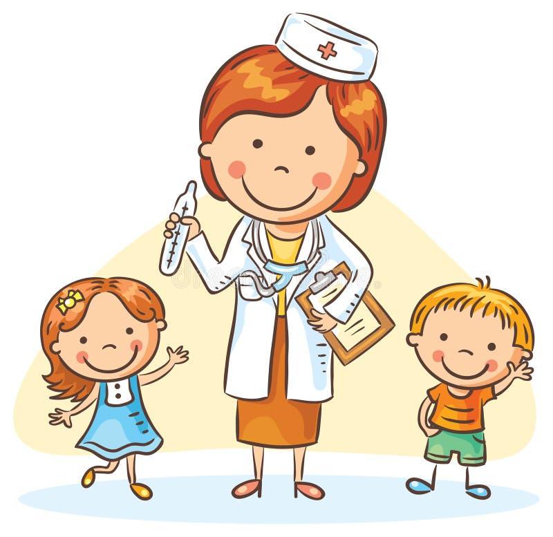 Kreskówki lekarka z szczęśliwymi małymi dziećmi, chłopiec i dziewczyną, ilustracja wektor