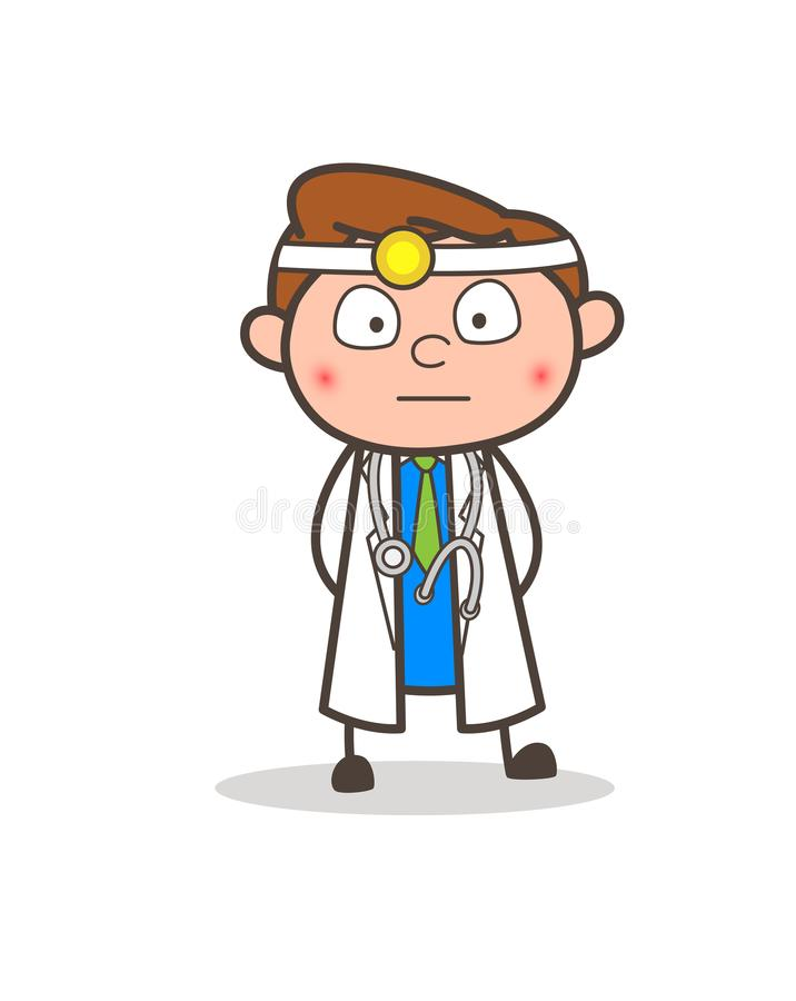Kreskówki lekarki Zaskakującej i Spłonionej twarzy Wyrażeniowa Wektorowa ilustracja ilustracja wektor