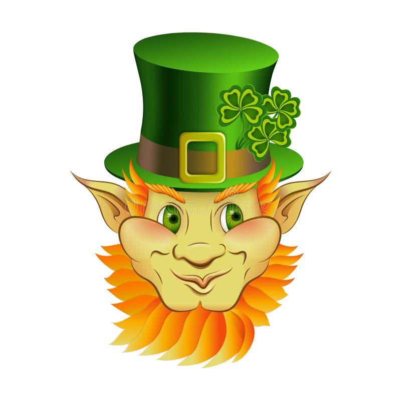 Kreskówki leprechaun charakteru wektorowa twarz zdjęcie royalty free