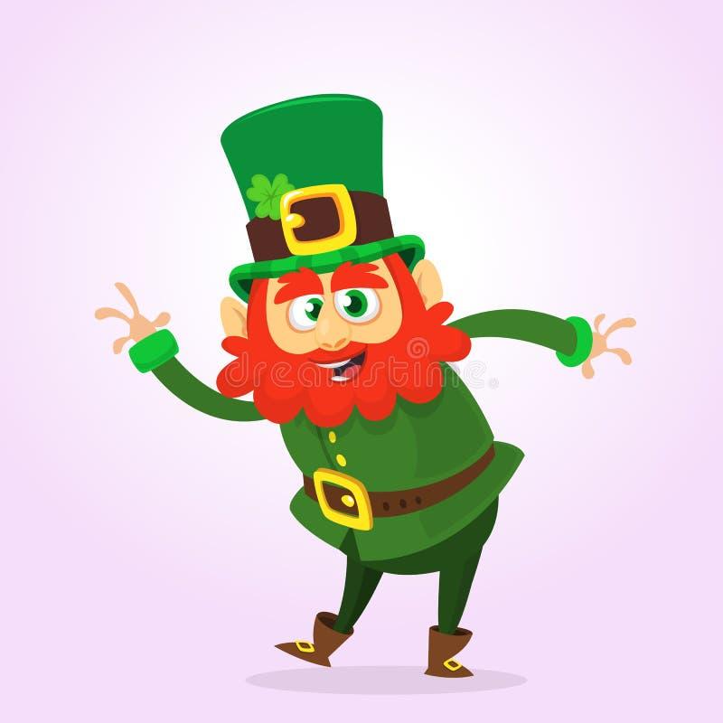 Kreskówki leprechaun falowania szczęśliwa ręka St Patrick projekt ilustracja wektor