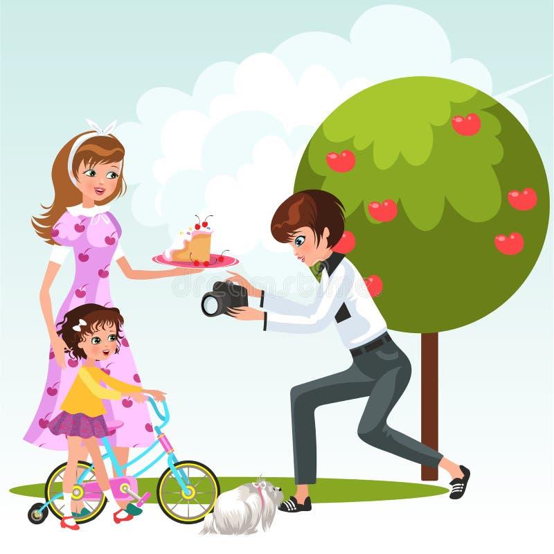 Kreskówki lesbian matka z małym dzieckiem na bicyklu ilustracja wektor
