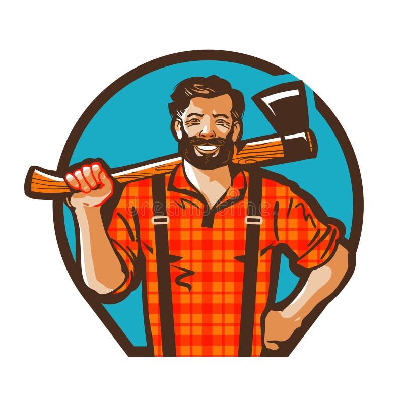 Kreskówki lumberjack mienia cioska również zwrócić corel ilustracji wektora royalty ilustracja