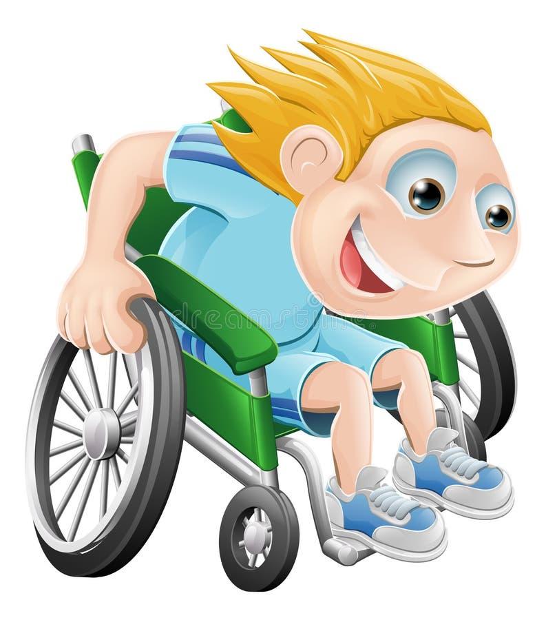 kreskówki mężczyzna bieżny wózek inwalidzki ilustracja wektor