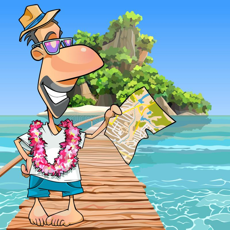 Kreskówki męska turystyczna pozycja z mapą przy molem royalty ilustracja