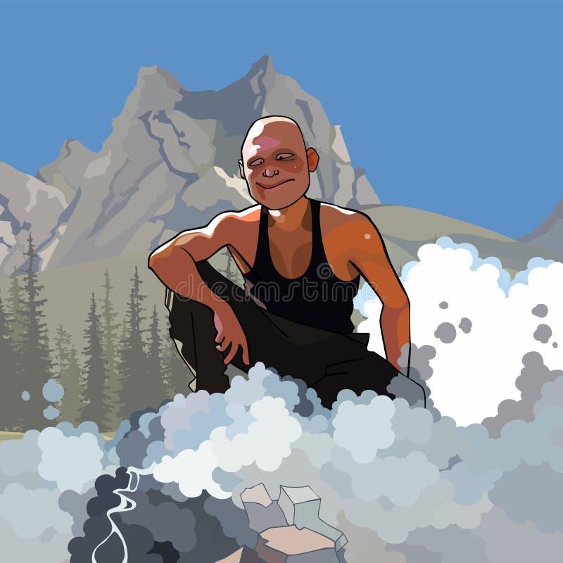Kreskówki męski turystyczny obsiadanie dymienie ogieniem w górach ilustracja wektor