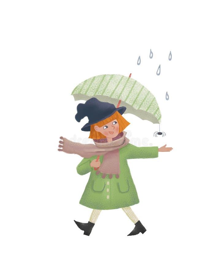 Kreskówki Mała czarownica w deszczu z parasolem Śliczni raster charakteru illustation jako druk pocztówka i projekt ludzie Raster royalty ilustracja