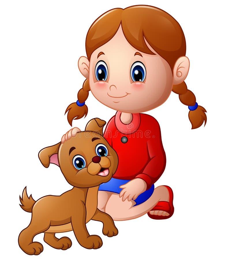 Kreskówki mała dziewczynka muskał psią ` s głowę royalty ilustracja