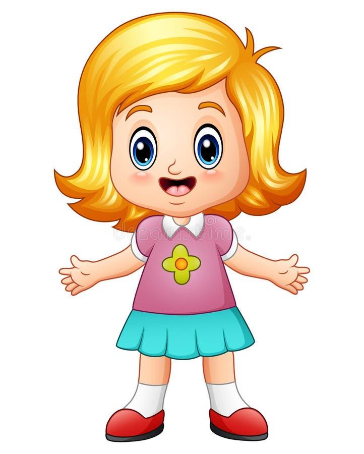 Kreskówki mała dziewczynka z blondynem royalty ilustracja