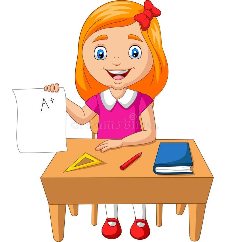 Kreskówki małej dziewczynki mienia papier z A plus stopień ilustracja wektor