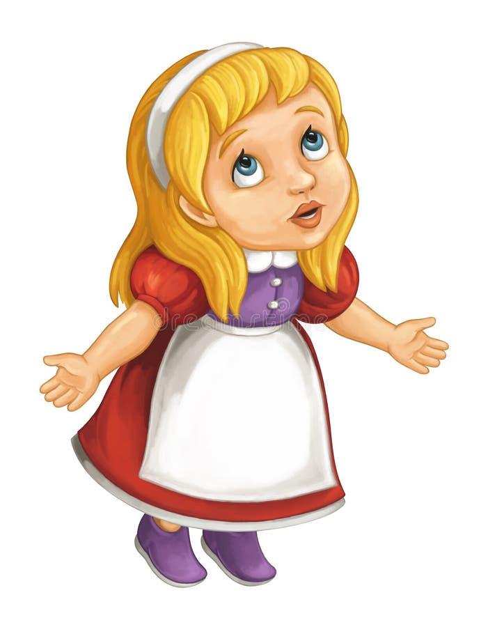Kreskówki małej dziewczynki przyglądający główkowanie i wyjaśniać coś someone ilustracja wektor