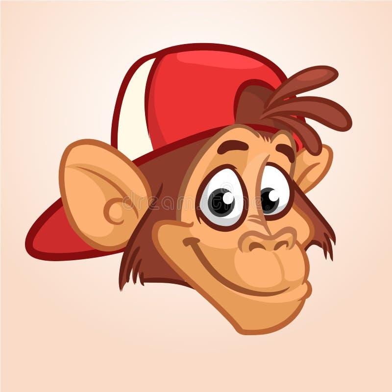 Kreskówki małpa Wektorowa szczęśliwa małpy głowy ikona Hip-hop charakter Ilustracja odizolowywająca ilustracji