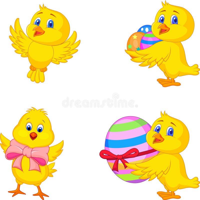 Kreskówki mały kurczątko z Wielkanocnym jajkiem royalty ilustracja