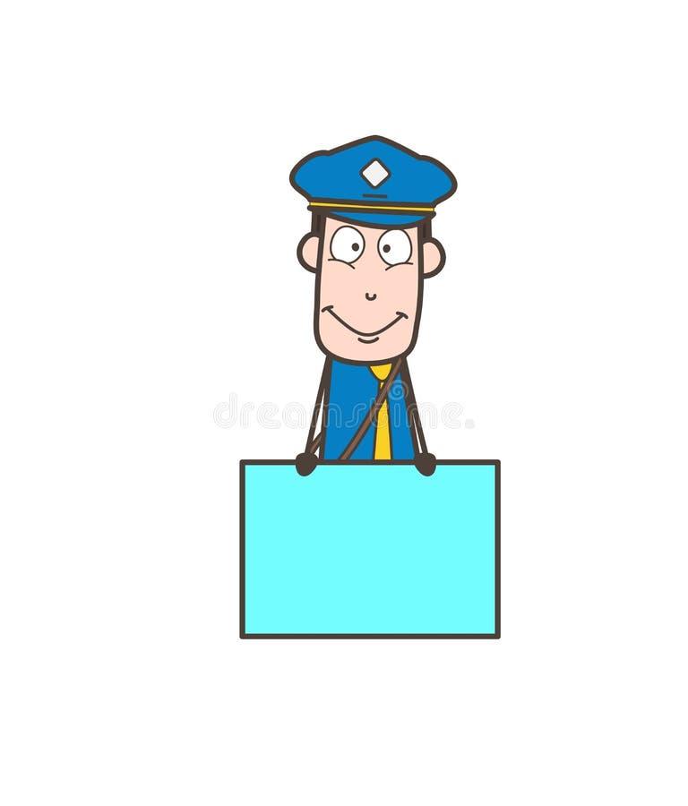 Kreskówki Mailman z reklama sztandaru wektorem ilustracji