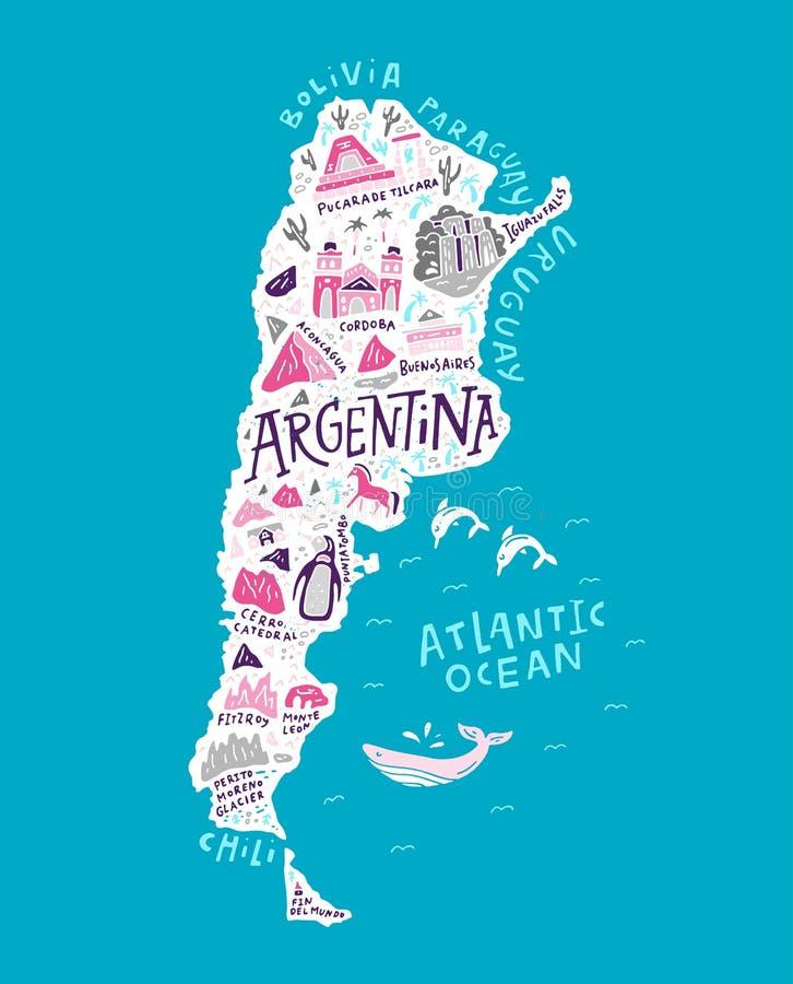 Kreskówki mapa Argentyna ilustracja wektor