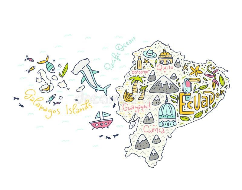 Kreskówki mapa Ekwador ilustracja wektor