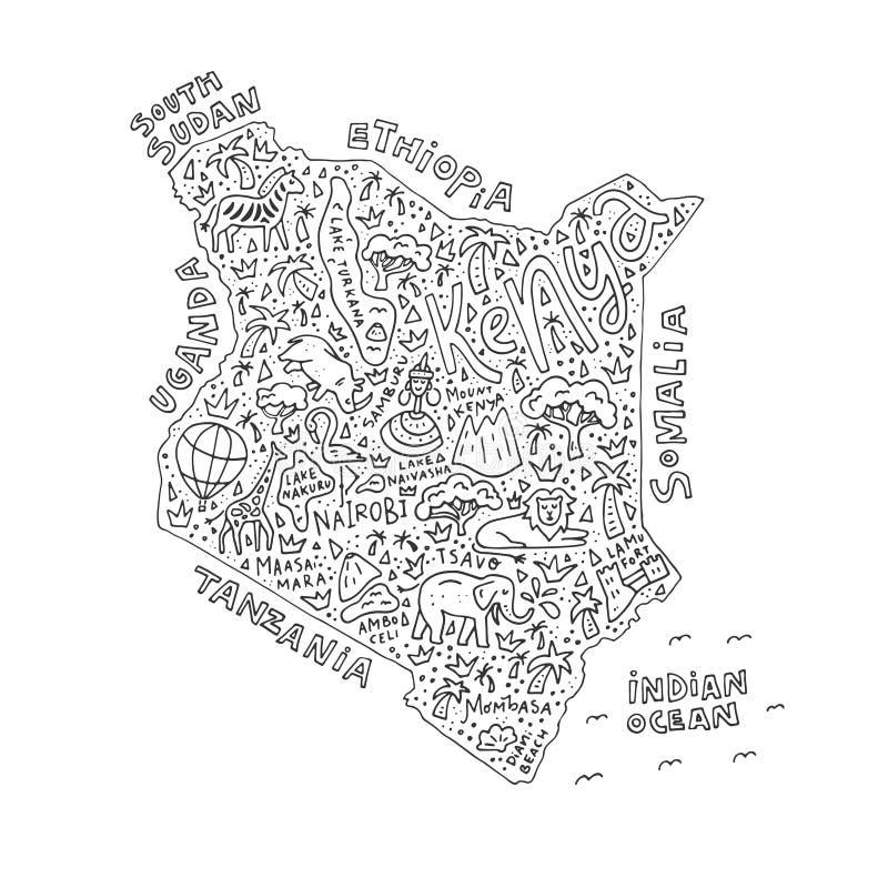Kreskówki mapa Kenja ilustracji