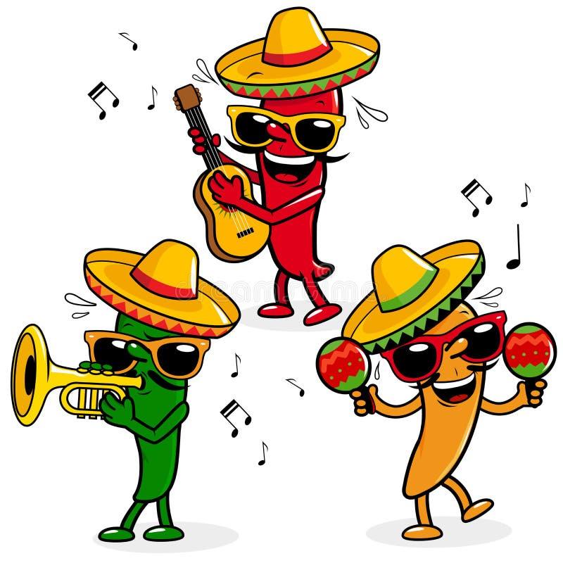 Kreskówki mariachi gorący pieprze ilustracji