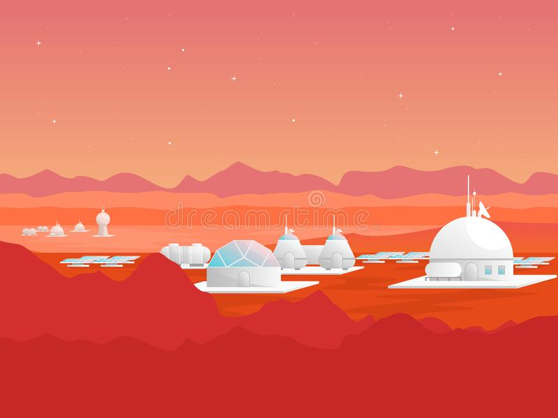 Kreskówki Mars kolonializaci karty plakat wektor royalty ilustracja
