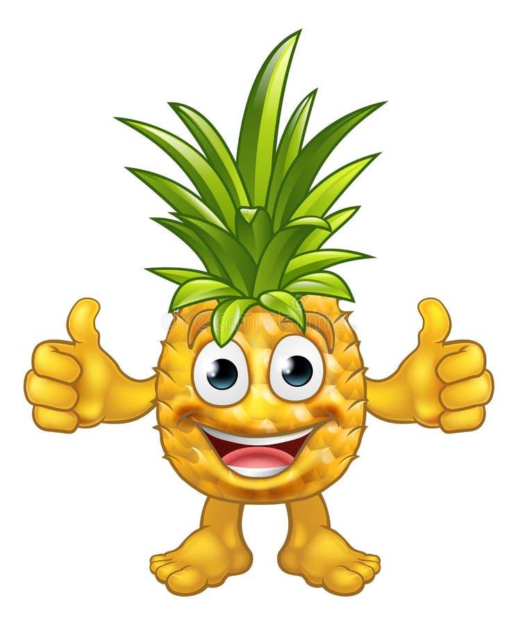 Kreskówki maskotki Ananasowy Owocowy charakter royalty ilustracja