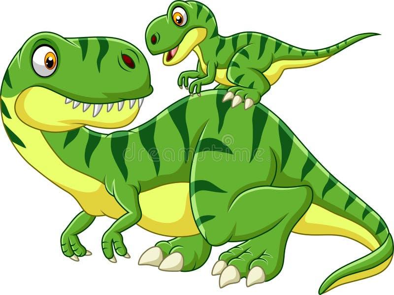 Kreskówki matka i dziecko dinosaur ilustracja wektor