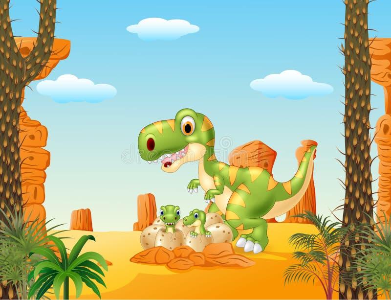 Kreskówki matka i dziecko dinosaur kluje się z pustynnym tłem ilustracji