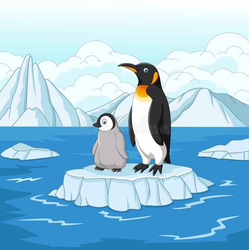 Kreskówki matka i dziecko pingwin na śnieżnym polu royalty ilustracja