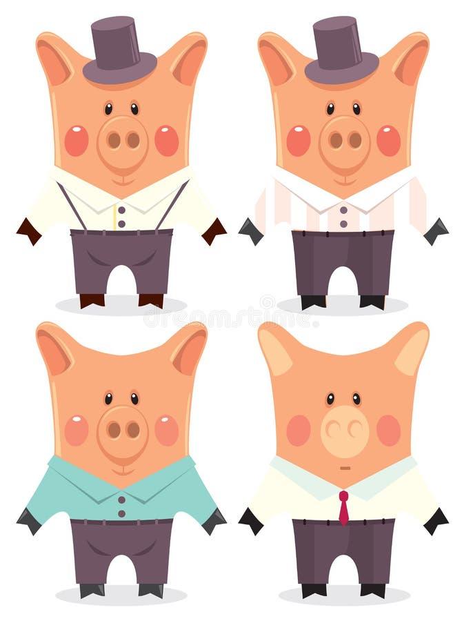 kreskówki mens świnie ilustracja wektor