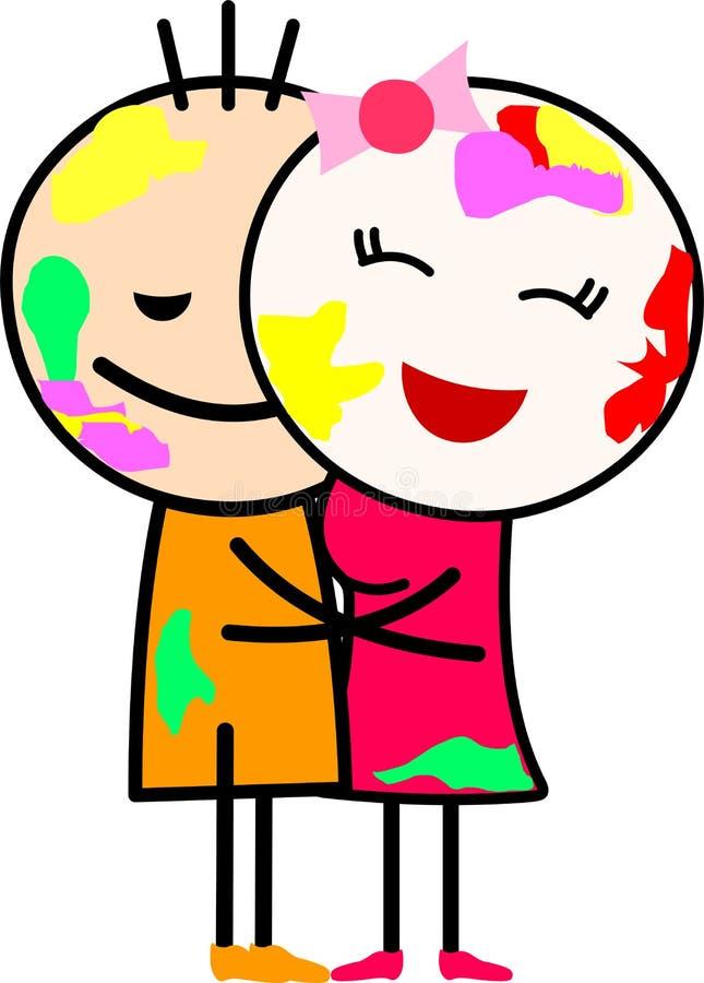 Kreskówki miłości pary przytulenie i bawić się z kolorami royalty ilustracja