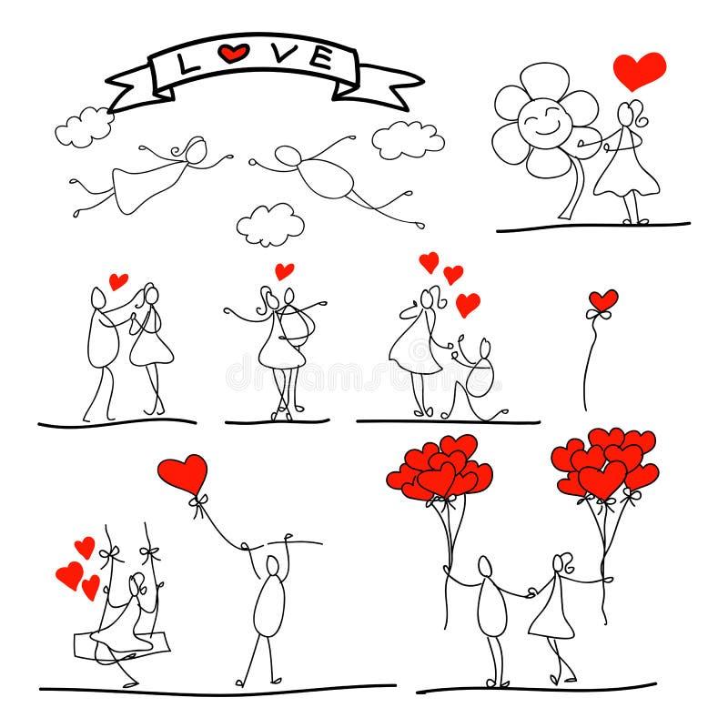 Kreskówki miłości pociągany ręcznie abstrakcjonistyczny charakter ilustracja wektor