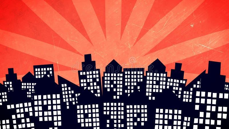Kreskówki miasta budynki ilustracja wektor