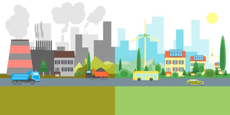 Kreskówki miasta krajobraz Geen i zanieczyszczenie fabryki wektor royalty ilustracja