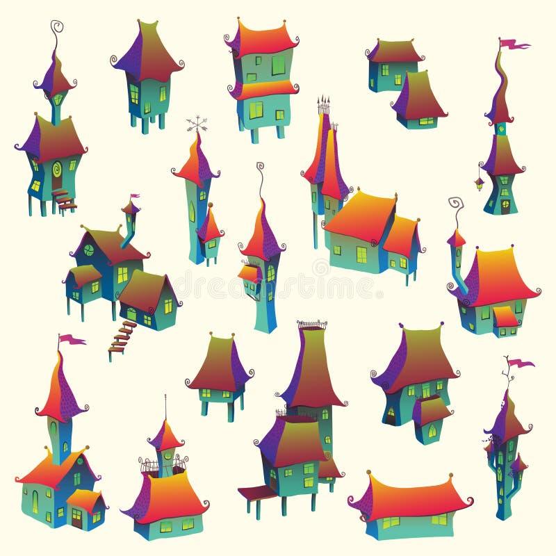 Kreskówki miasteczka stary set royalty ilustracja