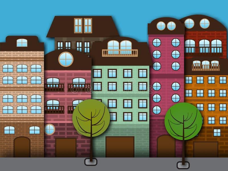 Kreskówki miasto ilustracja wektor