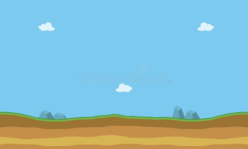 Kreskówki mieszkania krajobraz dla gemowych tło ilustracja wektor