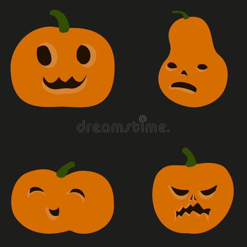 Kreskówki mieszkania stylu kolorowe dyniowe ikony ustawiać Szyldowy zestaw Halloween Wektorowa prosta jarzynowa ilustracja ilustracji