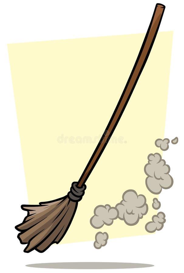 Kreskówki miotły cleaner i pyłu wektoru ikona royalty ilustracja