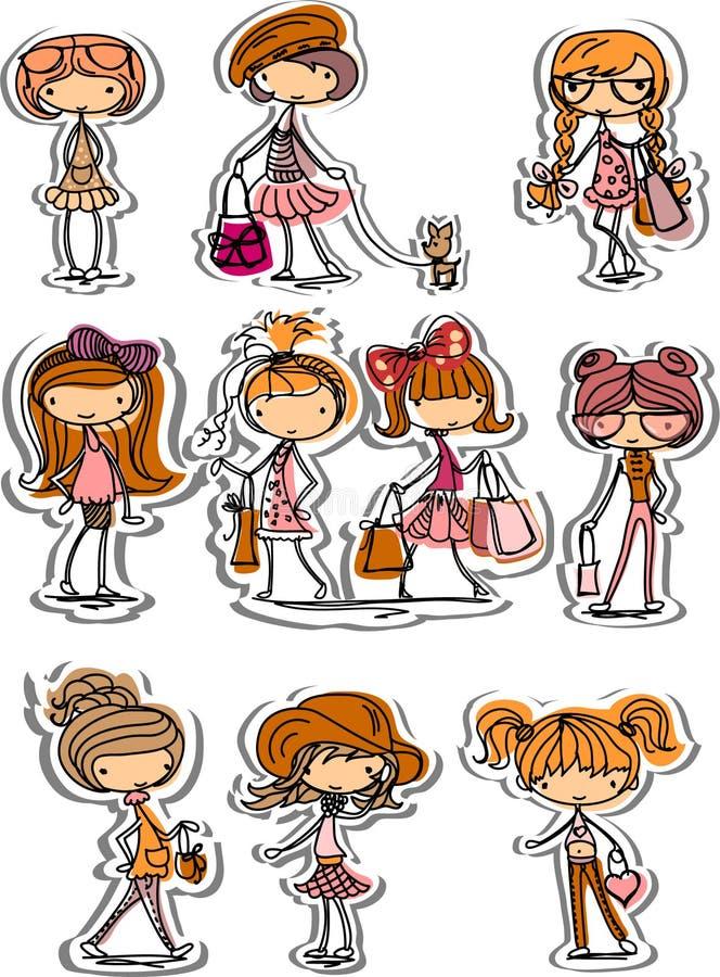 kreskówki modny dziewczyn wektor royalty ilustracja
