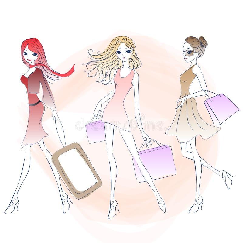 Kreskówki mody kobiety zakupy royalty ilustracja