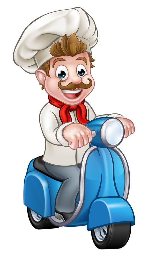 Kreskówki Moped hulajnoga Doręczeniowy szef kuchni ilustracja wektor