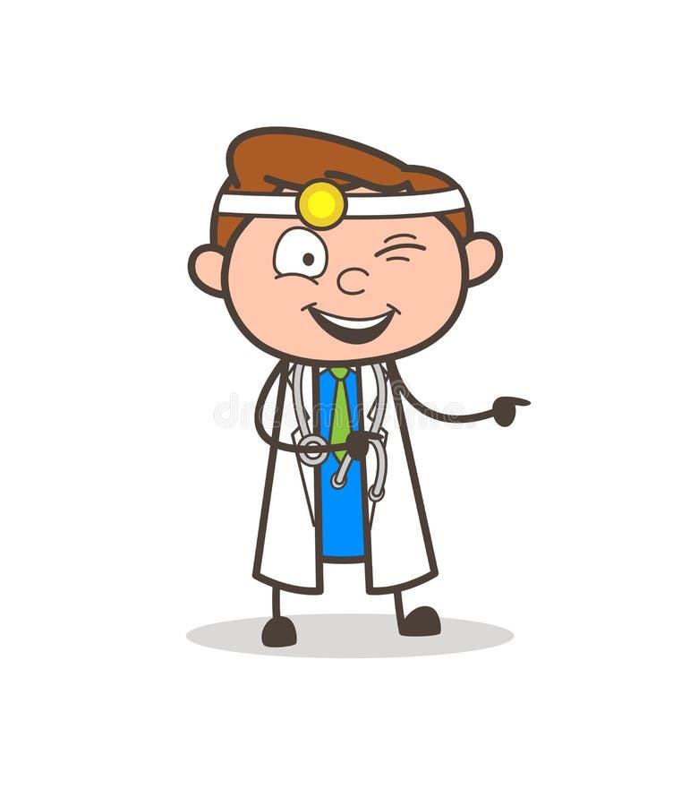 Kreskówki Mrugać i Wskazywać Palcowego wektor Śmieszny Niegrzeczny Doktorski oko ilustracja wektor