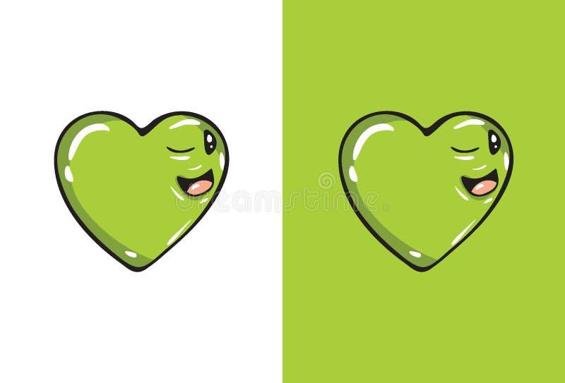 Kreskówki mrugnięcia emoji w kierowym kształcie royalty ilustracja